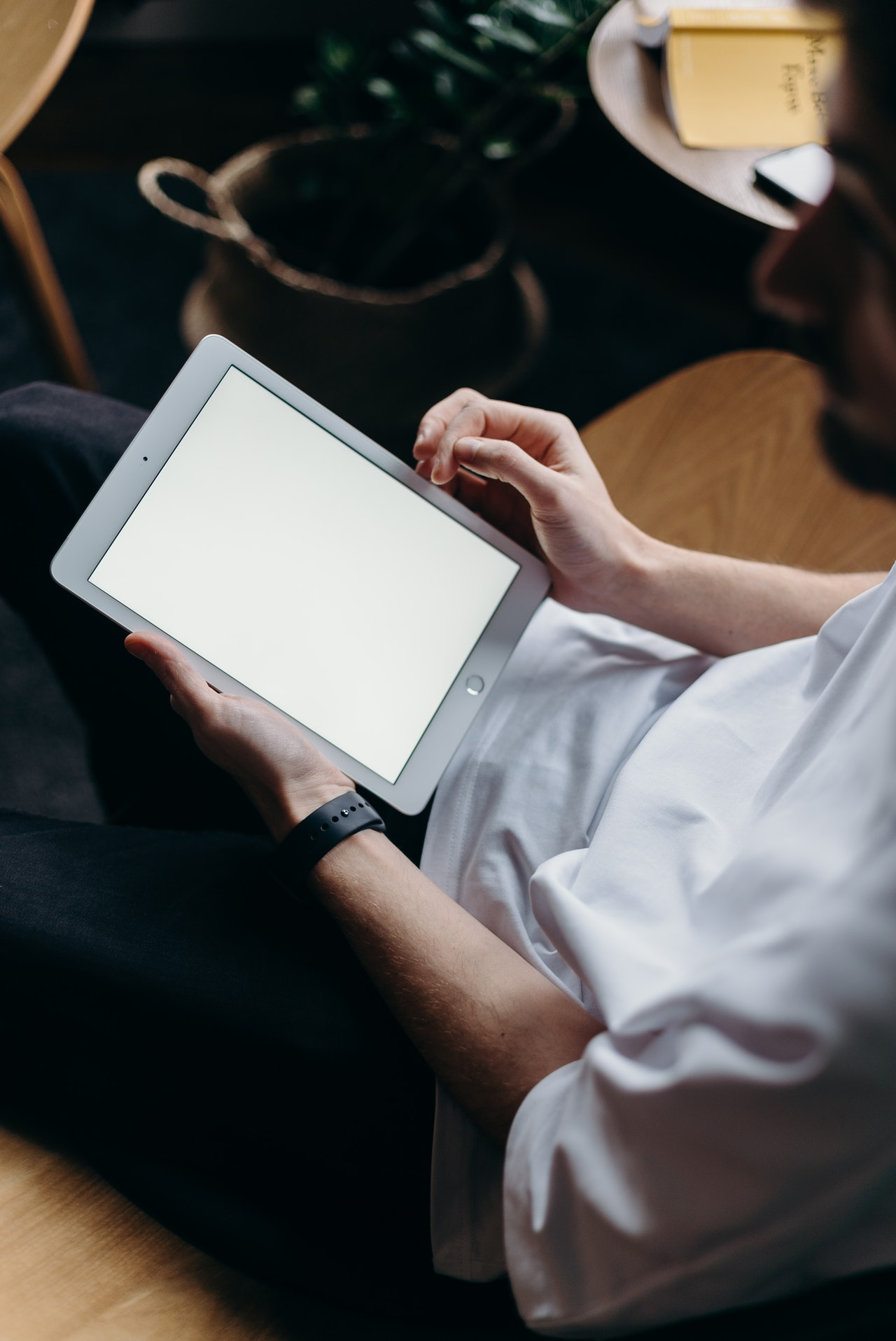 person working on ipad