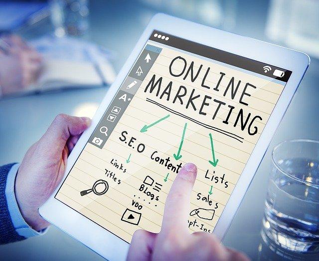 online marketing written on a tab