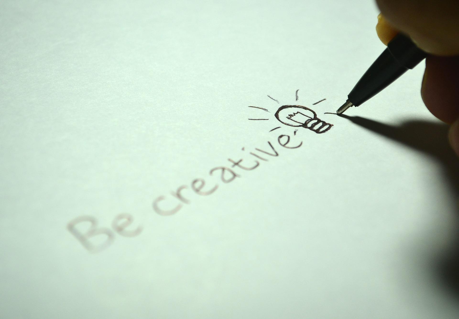 Be creative written on a sheet - CollegeMarker