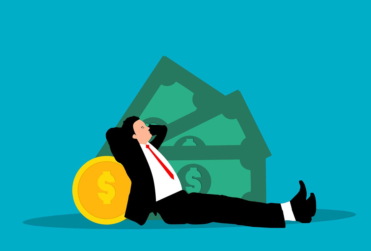Man resting on money