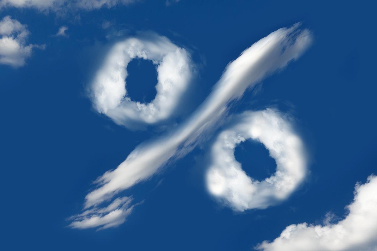 Percentage symbol in clouds