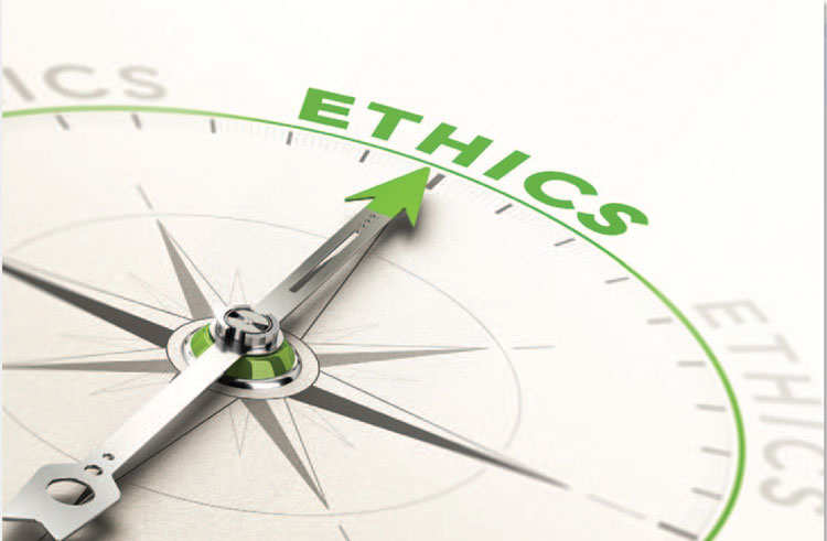 Ethics written on a compass