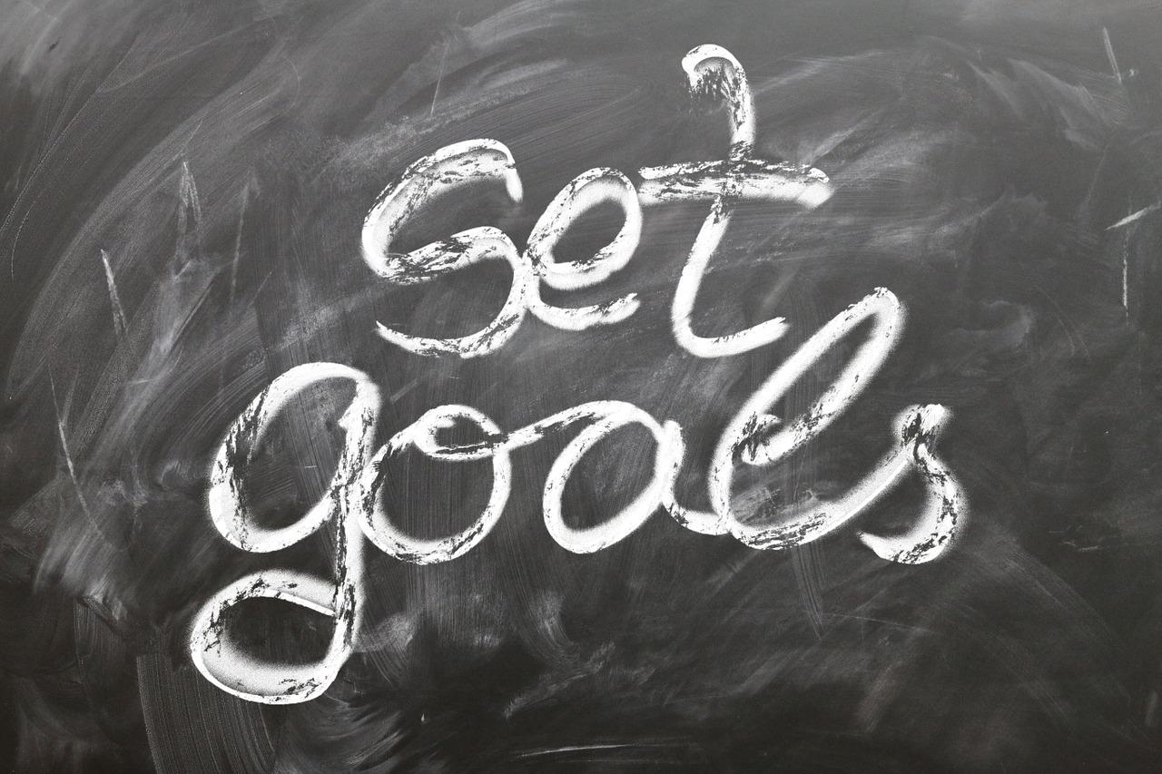 set goals written on a board